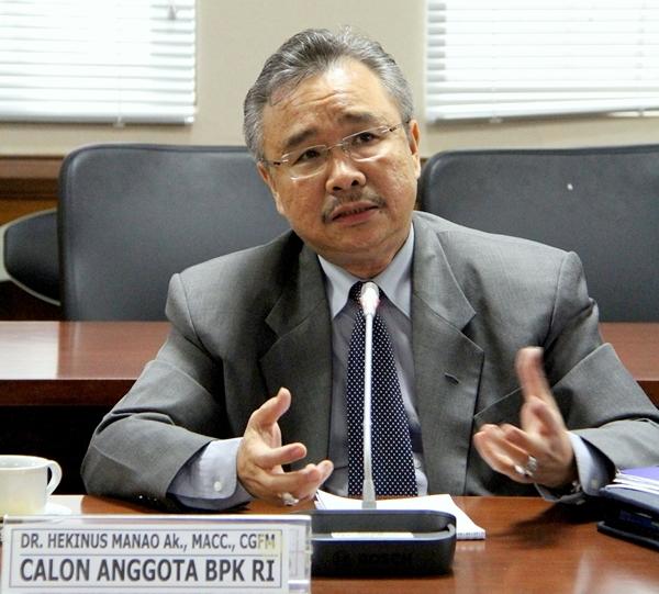 Hekinus Manao saat mengikuti uji kepatutan dan kelayakan calon pimpinan BPK di DPD RI | DPD RI