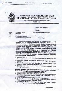 Copy surat Setda Prov Sumut kepada Bupati Nias Selatan