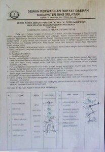 Kesepakatan DPRD dan Pemda Nias Selatan soal GBD pada 20 Januari 2015 | KN