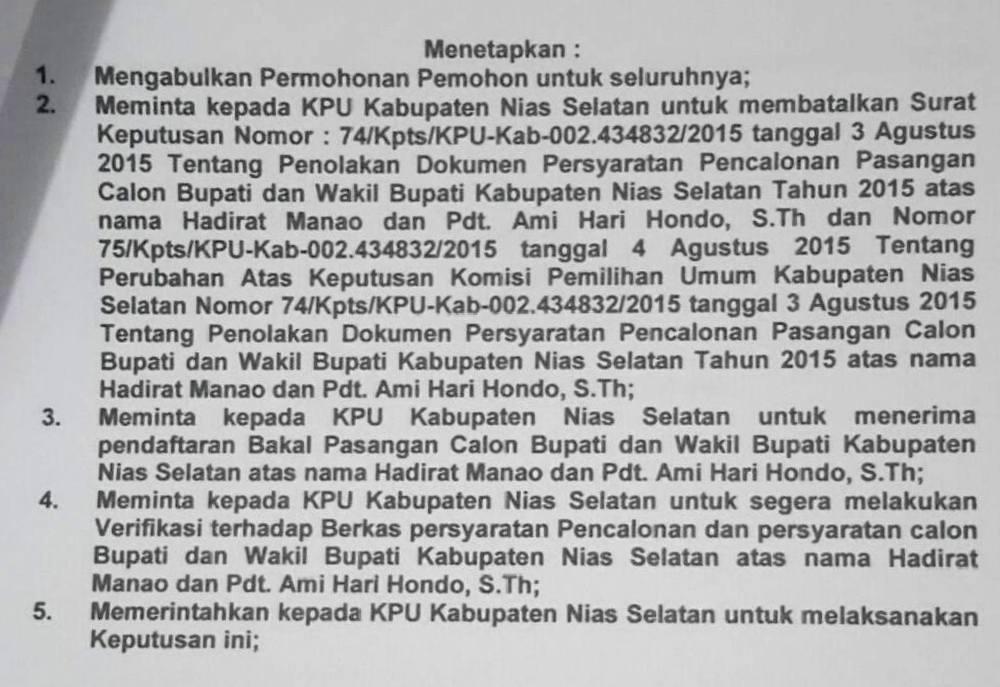 Kutipan putusan Panwaslih Nias Selatan yang dibacakan pada Rabu, 26/8/2015 | NS