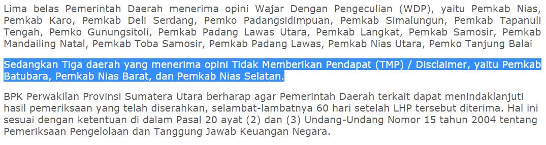 Kutipan rilis BPK Perwakilan Sumut | NS