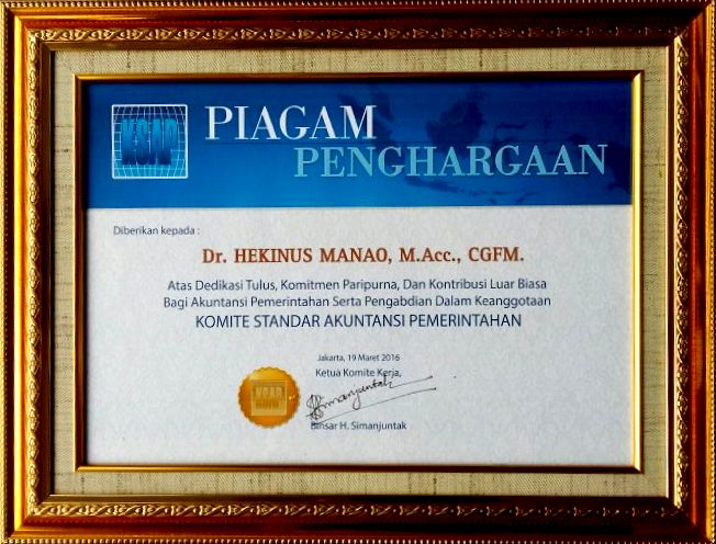 Piagam Penghargaan dari KSAP | Etis Nehe