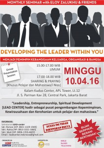 Flyer Undangan Seminar LEAD Center Indonesia 10 April 2016