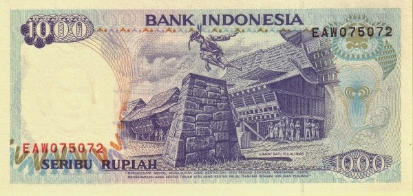 Uang kertas nominal Rp 1.000 bergambar Lompat Batu Nias | uanglama.com